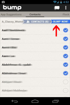 transfer contacts from iPhone to android using bump app